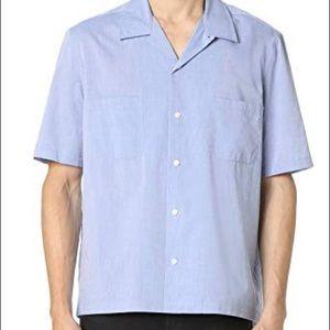 Men's Vince Blue Short Sleeve Cabana Shirt XL